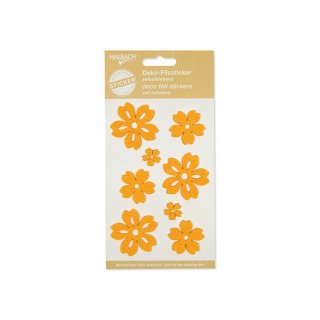 Blumen Filz Sticker 8 Stk, orange