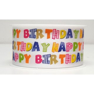 Geschenkband Happy Birtday, 40 mm x 2 m