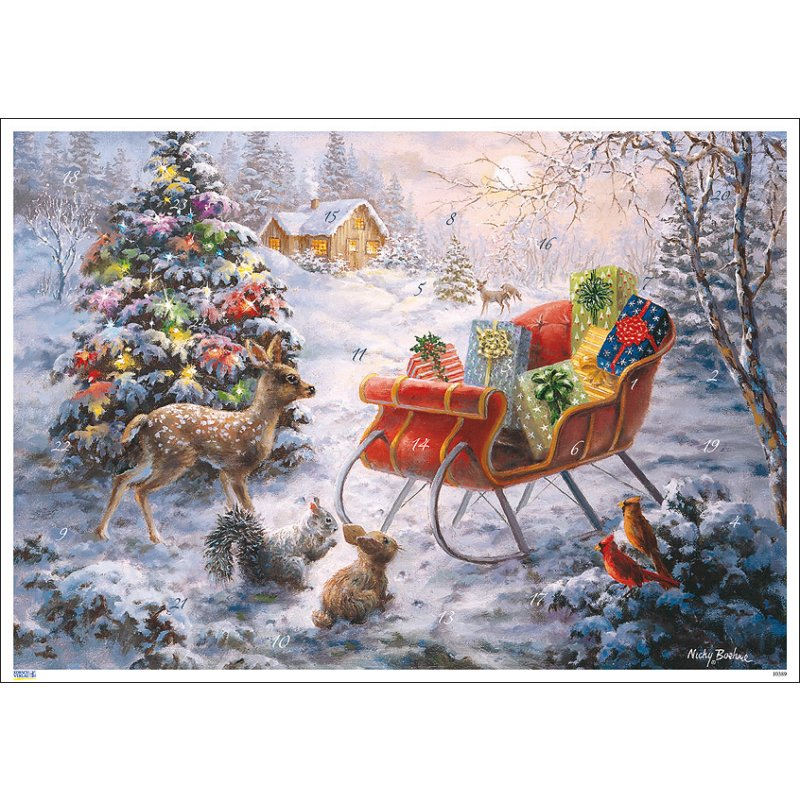 nostalgischer adventskalender geschenkeschlitten im wald a4 nicky boehme. Black Bedroom Furniture Sets. Home Design Ideas