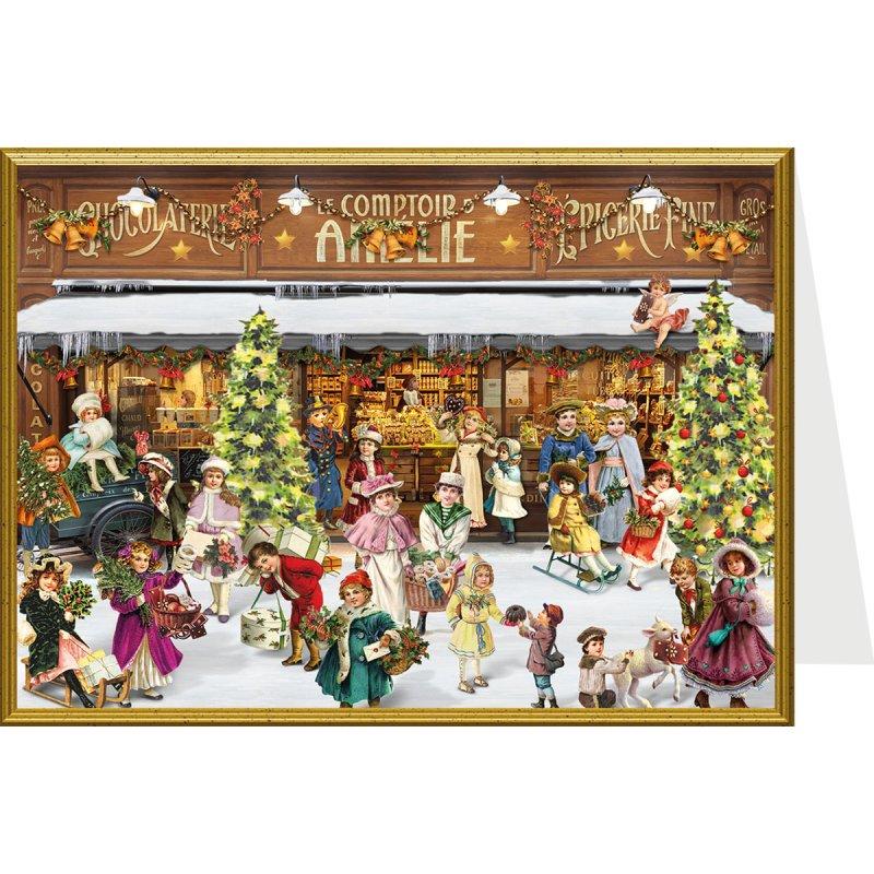 nostalgische weihnachtskarte der weihnachtszug f hrt ein. Black Bedroom Furniture Sets. Home Design Ideas