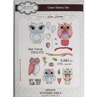 Clear Stamps Eulen - Stitched Owls
