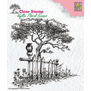 "Stempel ""Tree with fence"" Nellie's Choice"