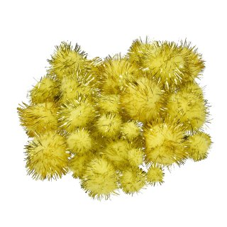 Pompons Mix 10 - 25 mm, 40 Stk., gelb/gold metallic