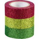 Glitter Tape 3er Set (rot, grün), je 3m x 15 mm