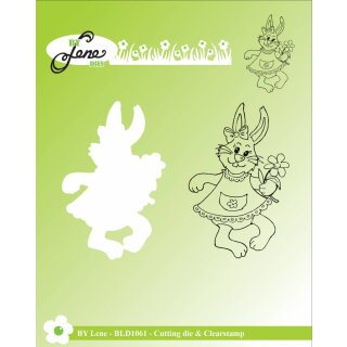 Stempel + Stanze Rabbit with Flower By Lene