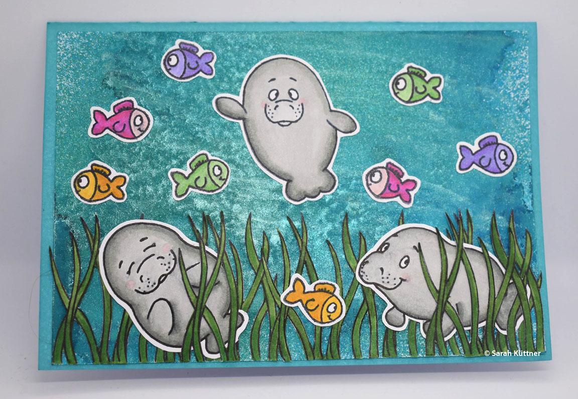 Grusskarte mit Gerda Steiner Stempelset Oh Manatee